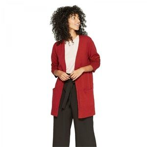 NWT A New Day Textured Cardigan Sweater Small Red